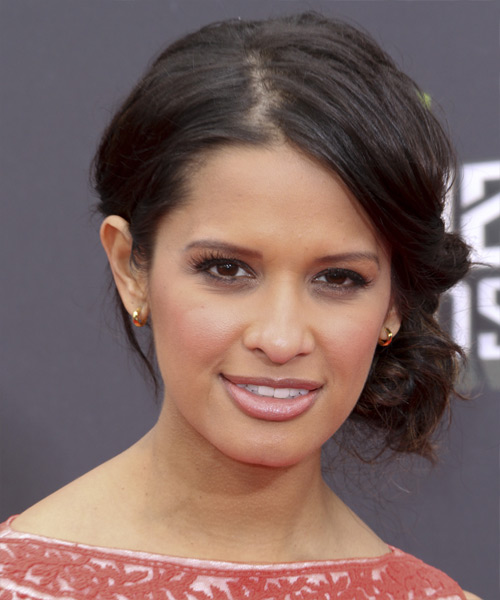 Rocsi Diaz Updo Long Curly Formal Updo Hairstyle - Dark Brunette Hair Color