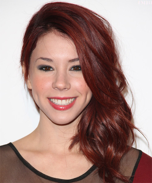 Jillian Rose Reed Long Wavy Hairstyle - Dark Red