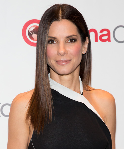 Sandra Bullock Long Straight Hairstyle - Medium Brunette (Chocolate)