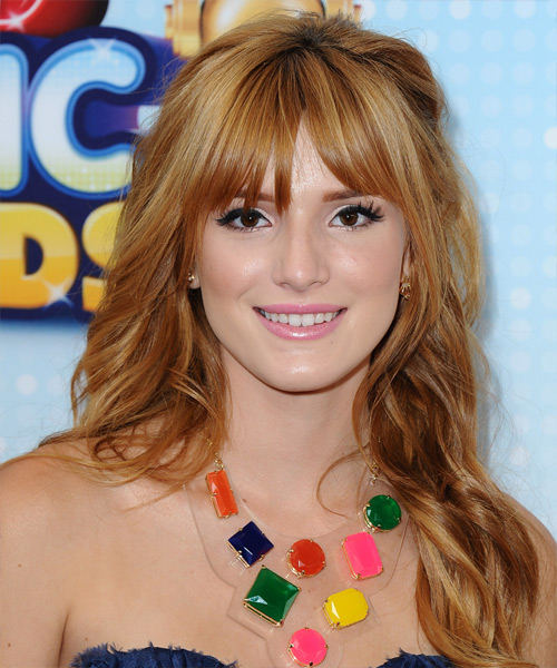 Bella Thorne Long Wavy Hairstyle - Dark Blonde (Copper)