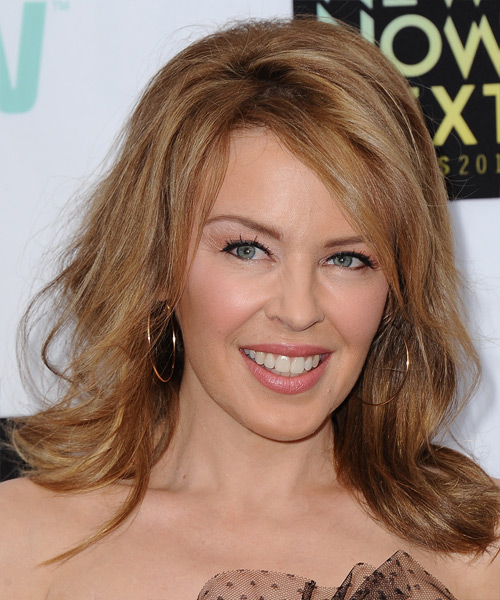 Kylie Minogue Medium Straight Casual Hairstyle - Dark Blonde (Copper) Hair Color