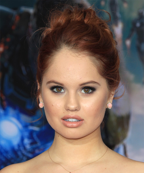 Debby Ryan Formal Curly Updo Hairstyle - Medium Red