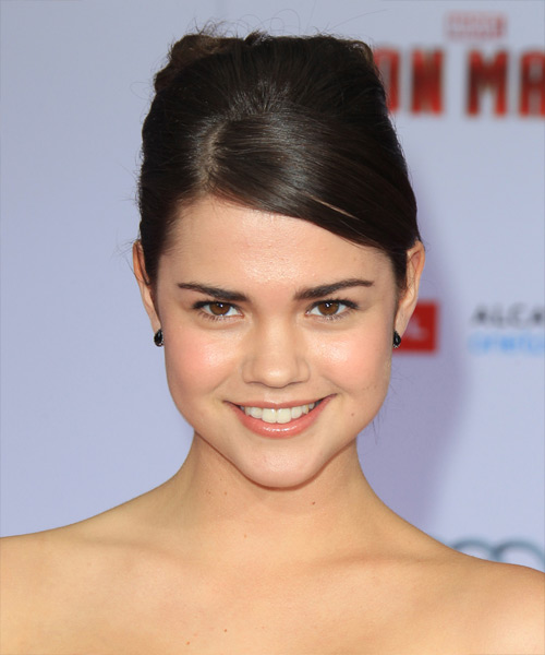 Maia Mitchell Straight Formal Updo Hairstyle with Side Swept Bangs - Medium Brunette Hair Color