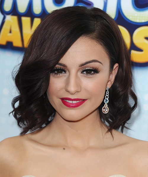 Cher Lloyd Medium Wavy Hairstyle - Dark Brunette (Mocha)