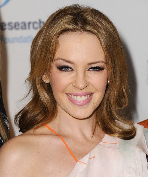 Kylie Minogue Medium Straight Casual Hairstyle - Dark Blonde (Golden) Hair Color