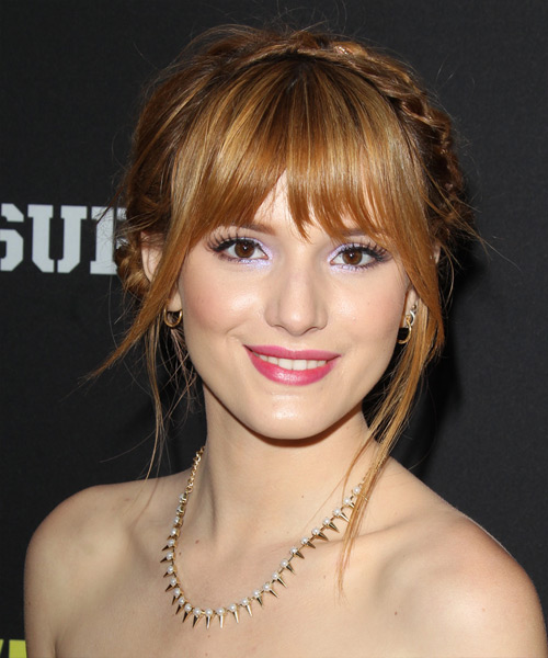 Bella Thorne Straight Casual Updo Hairstyle with Layered Bangs - Light Red (Copper) Hair Color