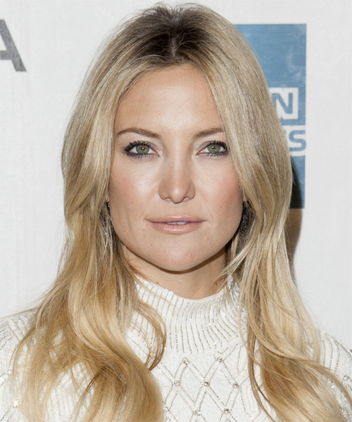 Kate Hudson Long Straight Casual Hairstyle - Light Blonde (Champagne) Hair Color