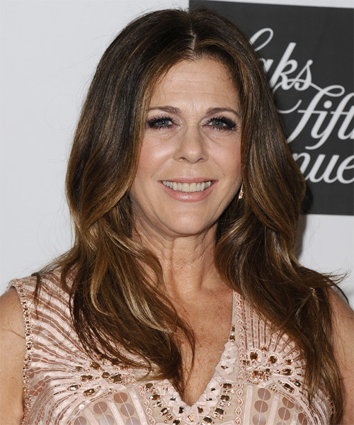 Rita Wilson Long Straight Hairstyle - Dark Brunette