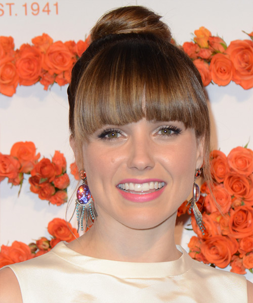 Sophia Bush Updo Long Straight Formal Wedding Updo with Blunt Cut Bangs - Medium Brunette (Chestnut)