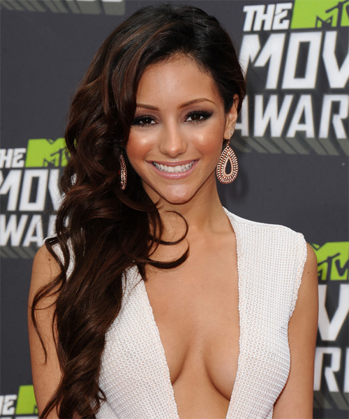 Melanie Iglesias Long Wavy Formal Hairstyle - Dark Brunette Hair Color