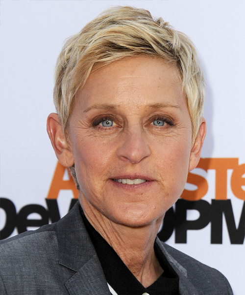 Ellen DeGeneres Short Straight Casual Hairstyle - Light Blonde Hair Color