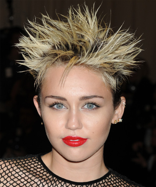 Miley Cyrus Short Straight Alternative Hairstyle - Medium Blonde Hair Color