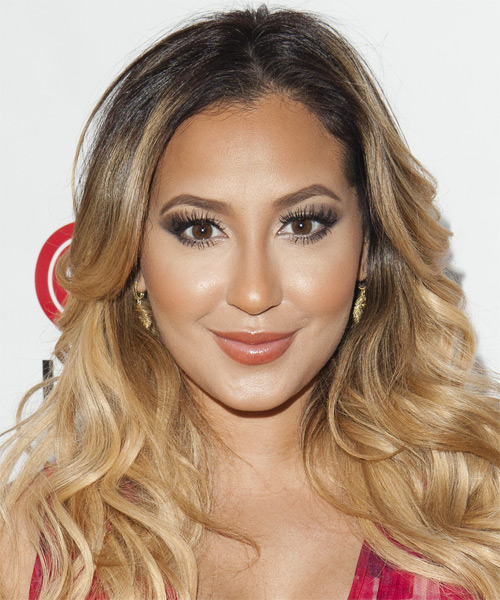 Adrienne Bailon Long Wavy Casual Hairstyle - Dark Blonde Hair Color