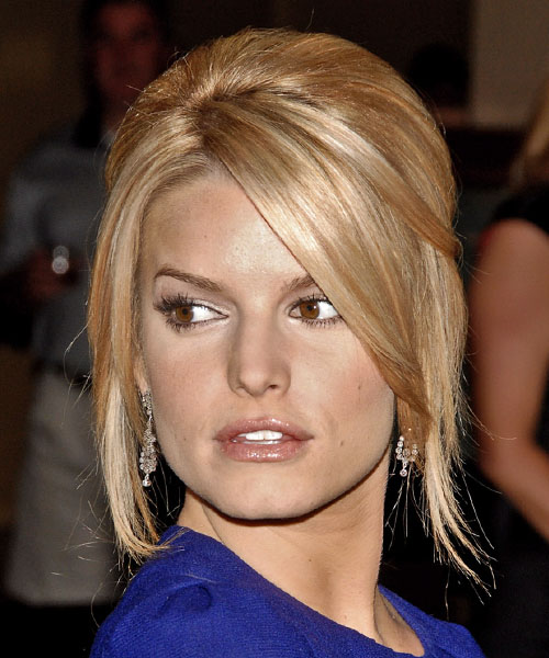 Jessica Simpson Updo Long Straight Formal Updo Hairstyle - Dark Blonde (Golden) Hair Color