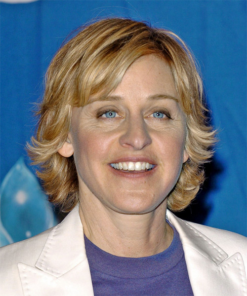 Ellen DeGeneres - Casual Medium Straight Hairstyle