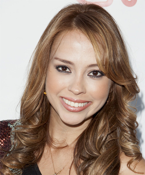 Maritza Pena Long Wavy Formal Hairstyle - Medium Brunette (Caramel) Hair Color