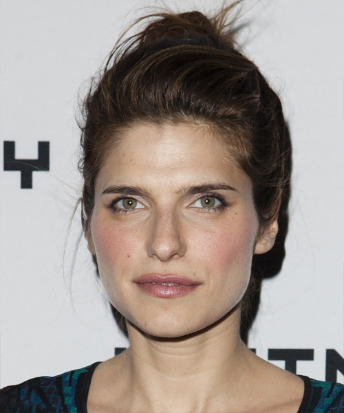 Lake Bell Updo Long Straight Casual Updo Hairstyle - Dark Brunette Hair Color