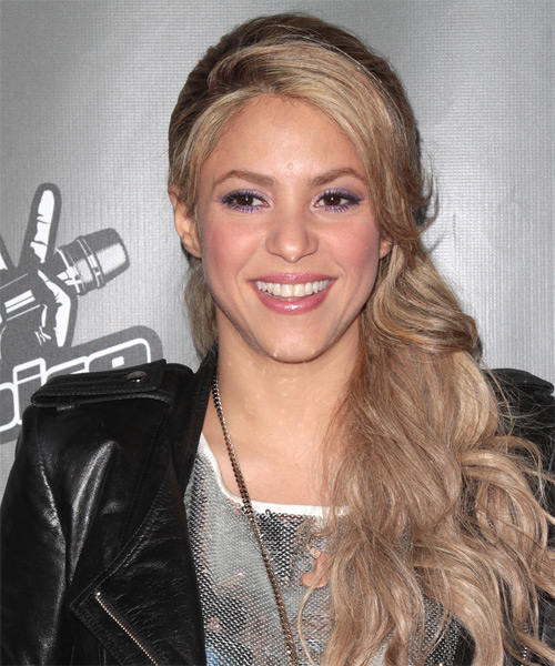 Shakira Curly Casual Half Up Hairstyle - Medium Blonde (Champagne) Hair Color