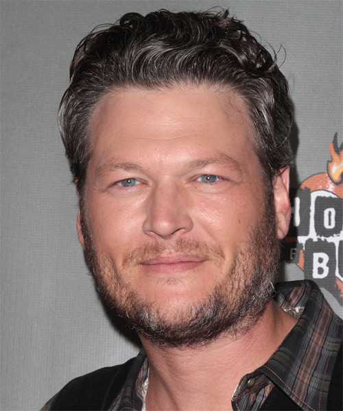 Blake Shelton Short Wavy Casual Hairstyle - Dark Grey