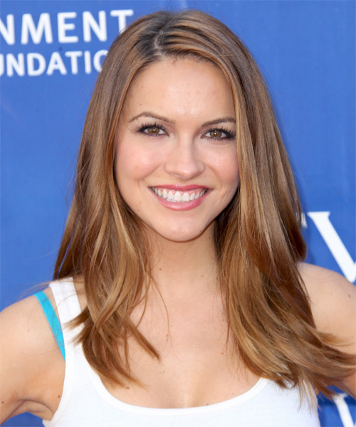 Chrishell Stause Long Straight Casual Hairstyle - Dark Blonde (Golden) Hair Color