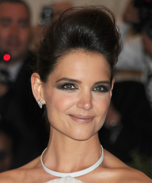 Katie Holmes Straight Formal Updo Hairstyle - Dark Brunette Hair Color