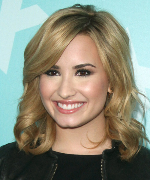 Demi Lovato Medium Wavy Formal Hairstyle - Medium Blonde Hair Color