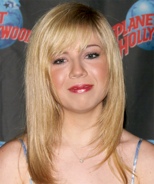 Jennette McCurdy Long Straight Casual Hairstyle - Light Blonde Hair Color