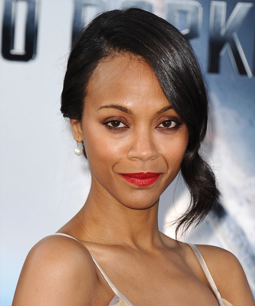 Zoe Saldana Formal Straight Updo Hairstyle