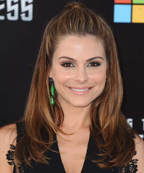 Maria Menounos Half Up Long Straight Casual Half Up Hairstyle