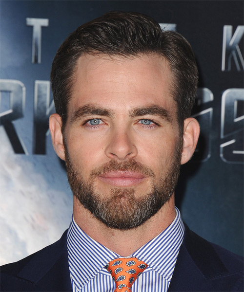 Chris Pine Short Straight Formal Hairstyle - Dark Brunette Hair Color