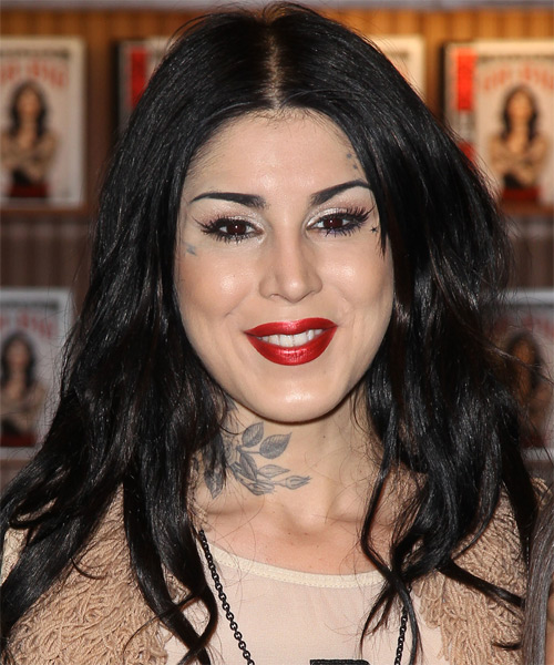 Kat Von D Long Straight Casual Hairstyle - Black Hair Color