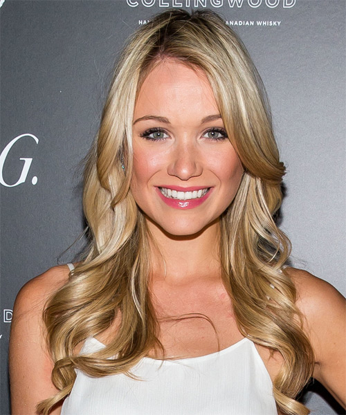 Katrina Bowden Long Wavy Hairstyle - Medium Blonde