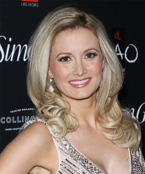 Holly Madison Long Wavy Formal Hairstyle - Light Blonde (Champagne) Hair Color