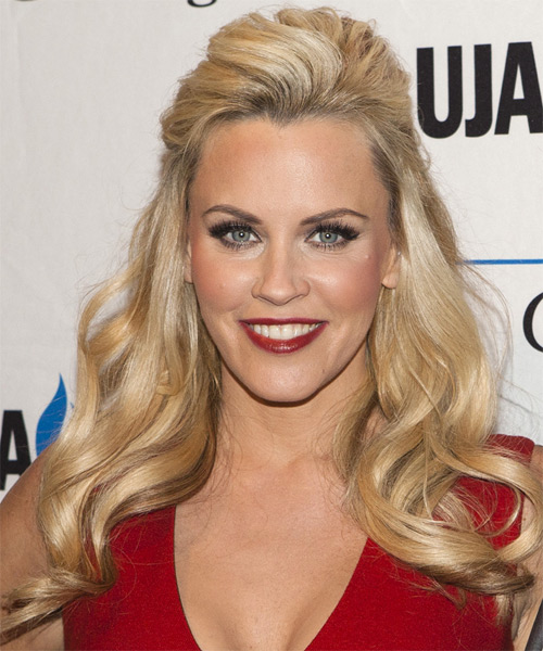 Jenny McCarthy Half Up Long Curly Hairstyle - Medium Blonde