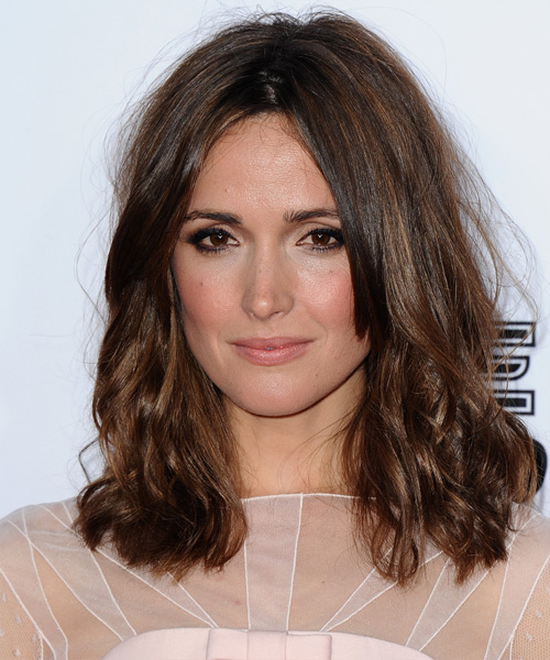 Rose Byrne Medium Wavy Casual Hairstyle - Medium Brunette Hair Color