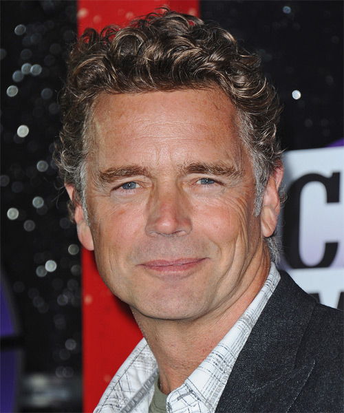 John Schneider Short Curly Casual Hairstyle - Medium Brunette (Grey)