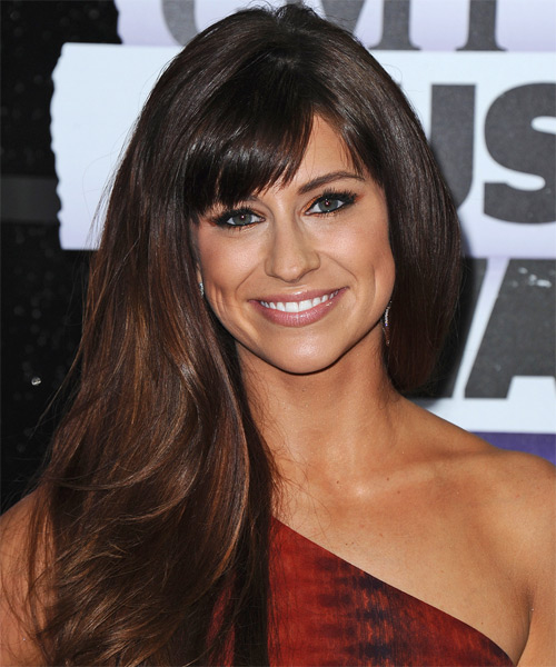 Rachel Reinert Long Straight Formal Hairstyle with Side Swept Bangs - Dark Brunette Hair Color
