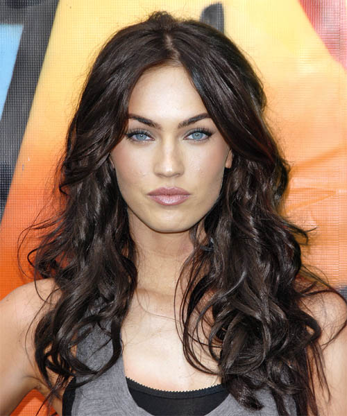 Megan Fox Long Wavy Casual Hairstyle - Medium Brunette (Chocolate) Hair Color