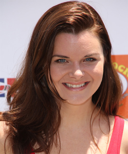 Heather Tom Long Straight Casual Hairstyle - Medium Brunette (Auburn) Hair Color