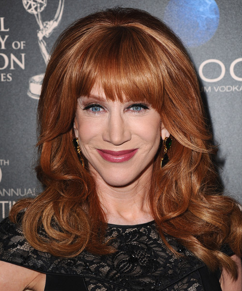 Kathy Griffin Long Straight Formal Hairstyle with Blunt Cut Bangs - Medium Red (Copper) Hair Color