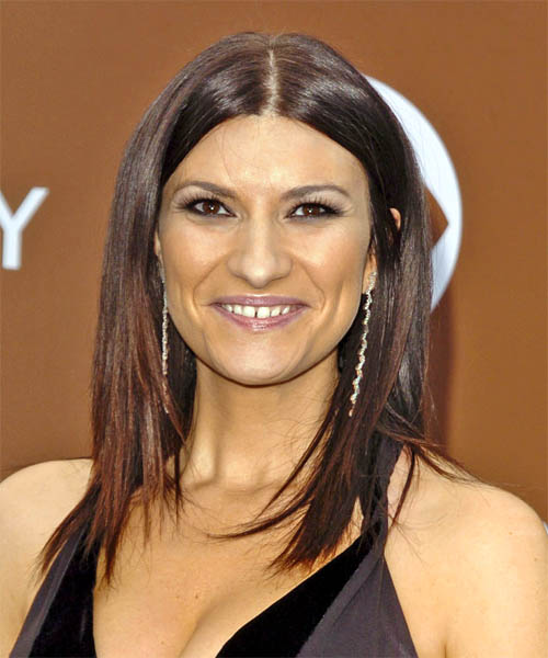 Laura Pausini Long Straight Hairstyle with middle part