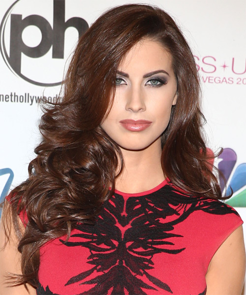 Katherine Webb Long Wavy Hairstyle - Medium Brunette (Chocolate)