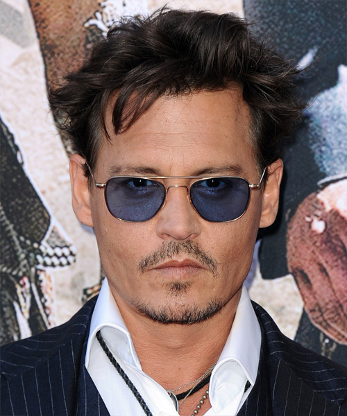 Johnny Depp Short Straight Casual Hairstyle - Dark Brunette Hair Color