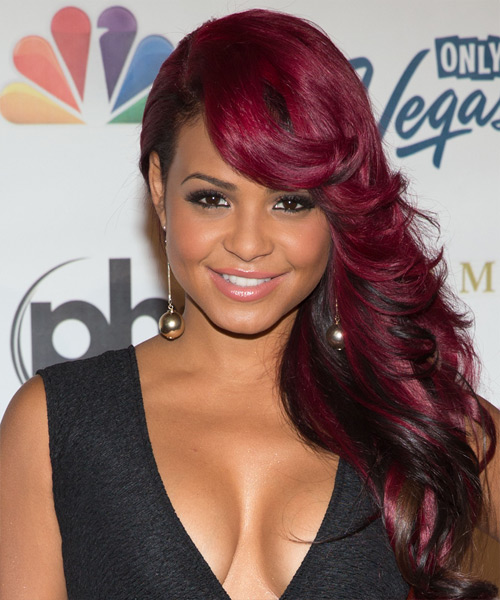 Christina Milian Long Straight Formal Hairstyle with Side Swept Bangs - Medium Red (Burgundy) Hair Color