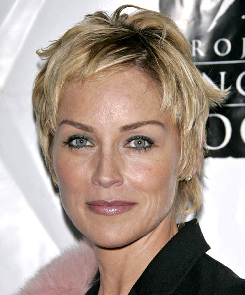 Sharon Stone - Straight  Short Straight Hairstyle