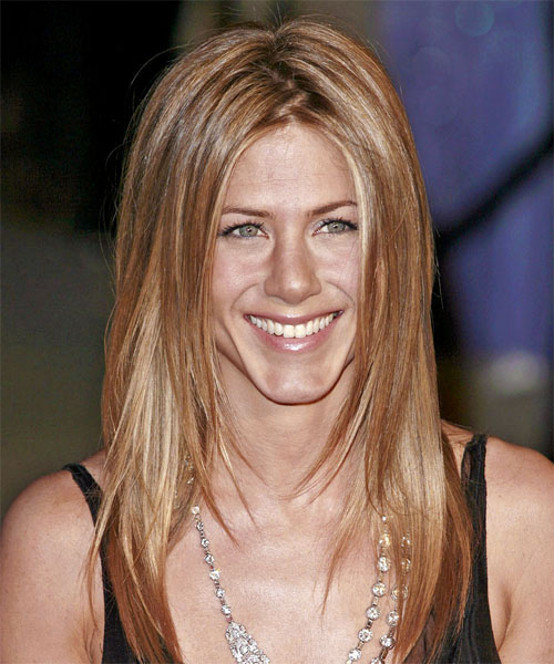 Jennifer Aniston Long Straight Casual Hairstyle - Light Brunette (Copper) Hair Color