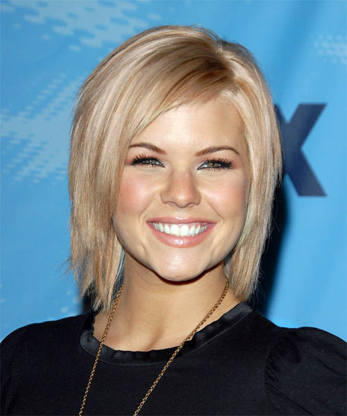Kimberly Caldwell Medium Straight Casual Hairstyle - Light Blonde (Strawberry) Hair Color
