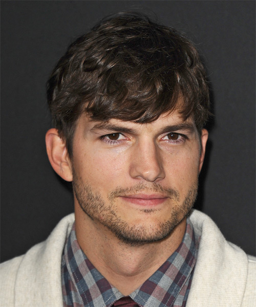 Ashton Kutcher Short Straight Hairstyle - Dark Brunette
