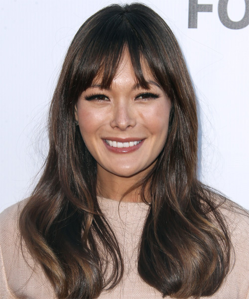 Lindsay Price Long Straight Hairstyle - Dark Brunette