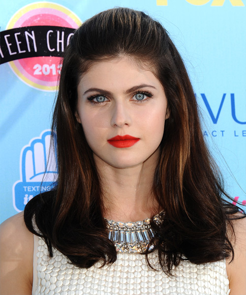Alexandra Daddario Long Straight Formal Half Up Hairstyle